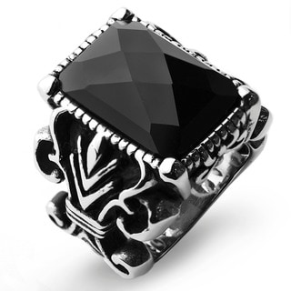 Men's Stainless Steel Antiqued Finish Onyx Royal Ring