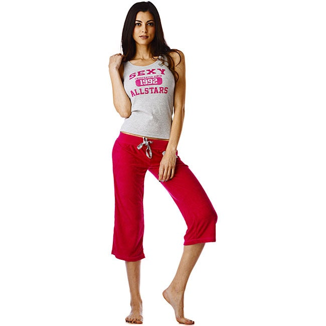 Stanzino Women's 'All Star' Red Tank and Capri Pajama Set - Free ...