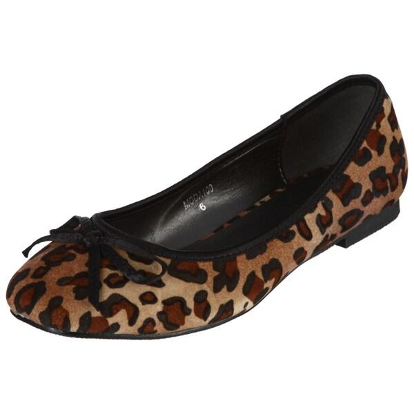 Henry Ferrera Women's Leopard Print Bow Flats