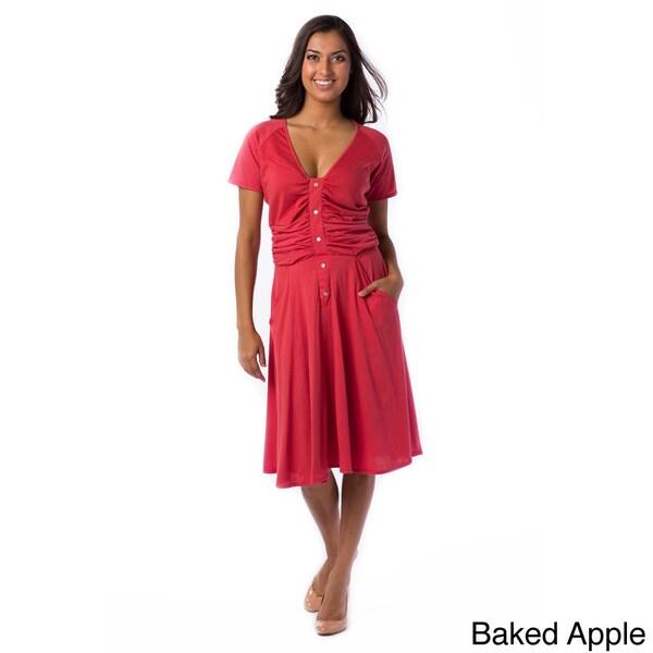 AtoZ Women's Ruched Short Sleeve V-neck Cotton Dress