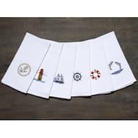 LUCIA MINELLI Luxury 6 pcs Ocean Embroidered Turkish Kitchen towel set