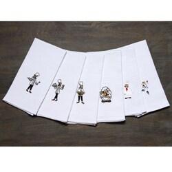 LUCIA MINELLI 6 pcs Embroidered Turkish Kitchen towel set