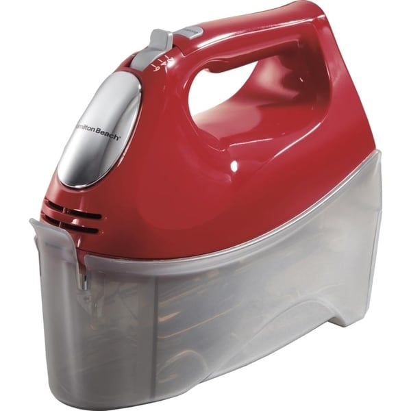Shop Hamilton Beach Red 6 Speed Hand Mixer With Snap On Case Free Shipping On Orders