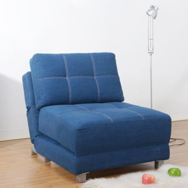 New York Royal Blue Convertible Chair Bed Free Shipping