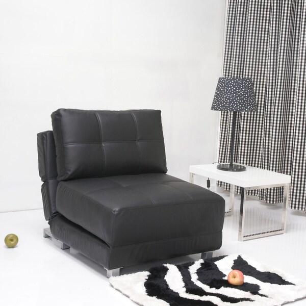 New York Black Matte Convertible Chair Bed