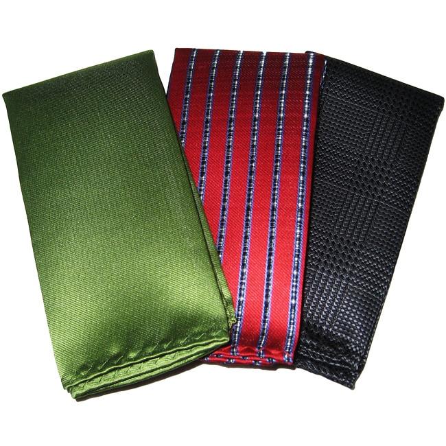 Dimitry Men's 10-Inch Italian Silk Pocket Squares (Pack of 3)