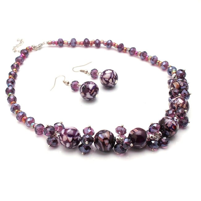 Purple Mosaic Marble and Crystal Necklace and Earrings Jewelry Set