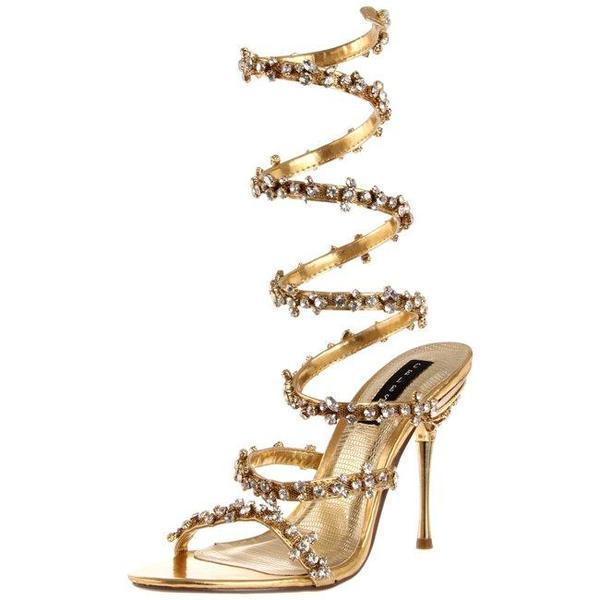 Celeste Women's 'Nani-01' Gold Spiral Heels