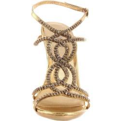 Celeste Women's 'Ocean-11' Gold Rhinestone Heels - Free Shipping ...