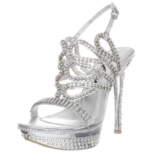 Celeste Women's 'Natalie-07' Silver Rhinestone Heels