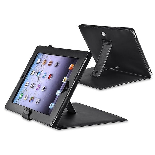 INSTEN Black Leather Tablet Case Cover with Stand for Apple iPad 1