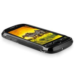 INSTEN Frost Black S Shape TPU Rubber Skin Phone Case Cover for HTC myTouch 4G