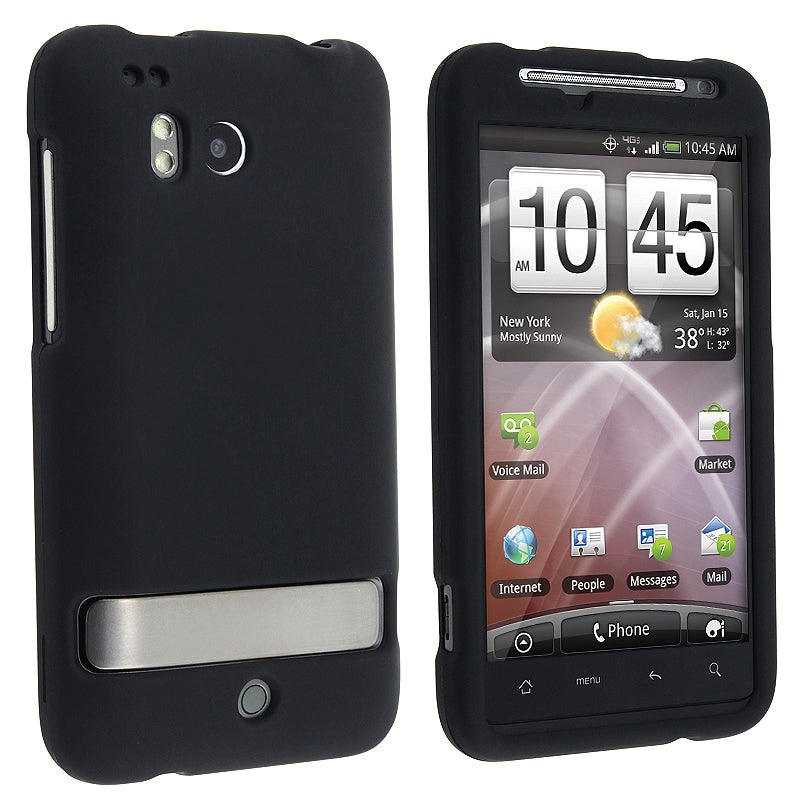 INSTEN Black Snap-on Rubber Coated Phone Case Cover for HTC ThunderBolt 4G