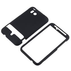 INSTEN Black Snap-on Rubber Coated Phone Case Cover for HTC ThunderBolt 4G - Thumbnail 1