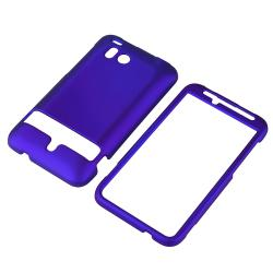 BasAcc Blue Snap-on Rubber Coated Case for HTC ThunderBolt 4G - Thumbnail 1