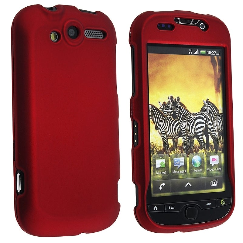 INSTEN Wine Red Snap-on Rubber Coated Phone Case Cover for HTC myTouch 4G