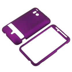 INSTEN Purple Snap-on Rubber Coated Phone Case Cover for HTC ThunderBolt 4G - Thumbnail 1