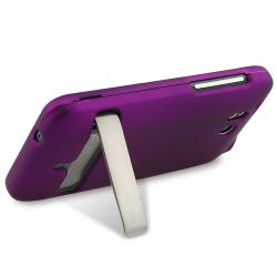 INSTEN Purple Snap-on Rubber Coated Phone Case Cover for HTC ThunderBolt 4G - Thumbnail 2