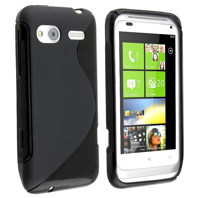 INSTEN Frost Black S Shape TPU Rubber Skin Phone Case Cover for HTC Radar - Thumbnail 0