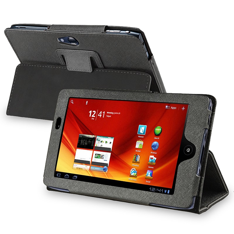 INSTEN Black Leather Phone Case Cover for Acer Iconia Tab A100