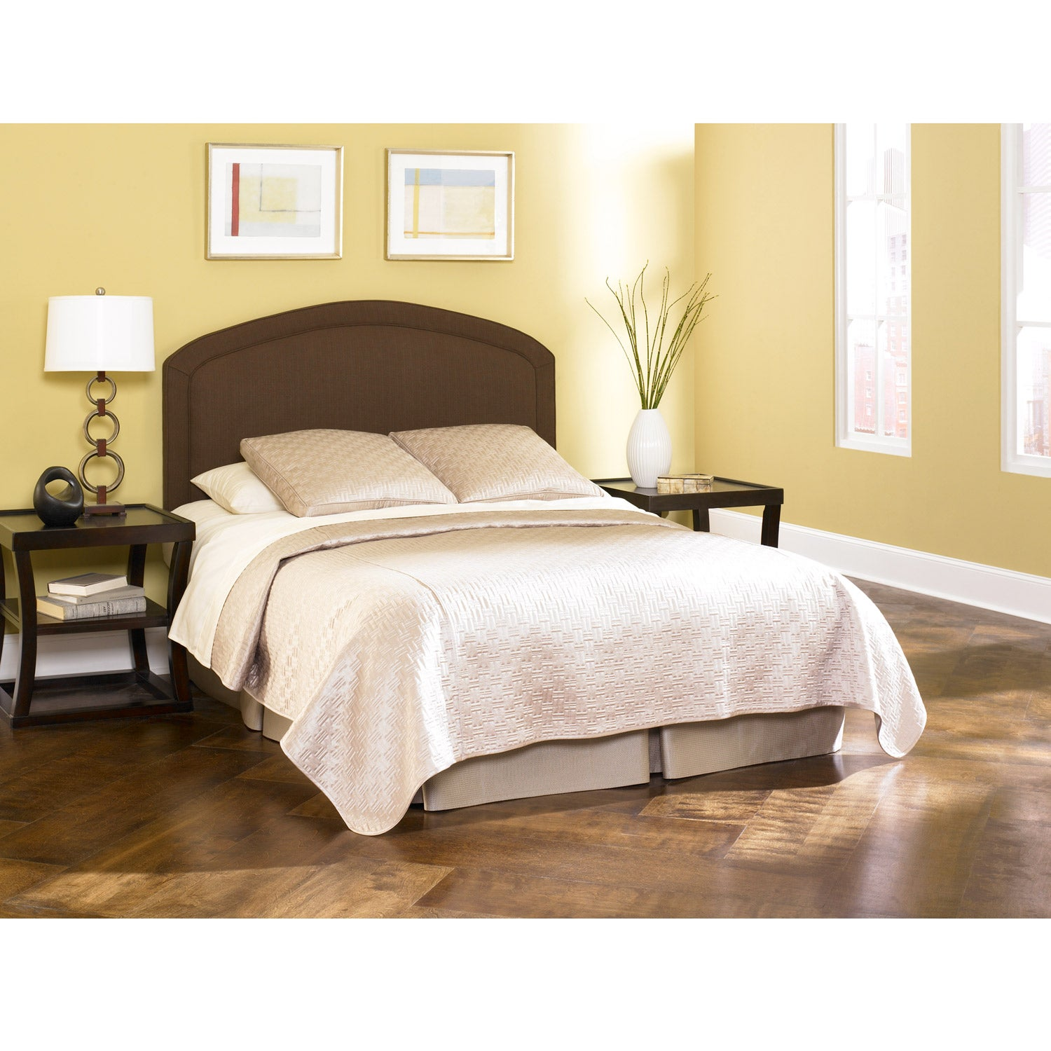 Fashion Bed Cherbourg Deep Chocolate Twin-size Upholstered Headboard