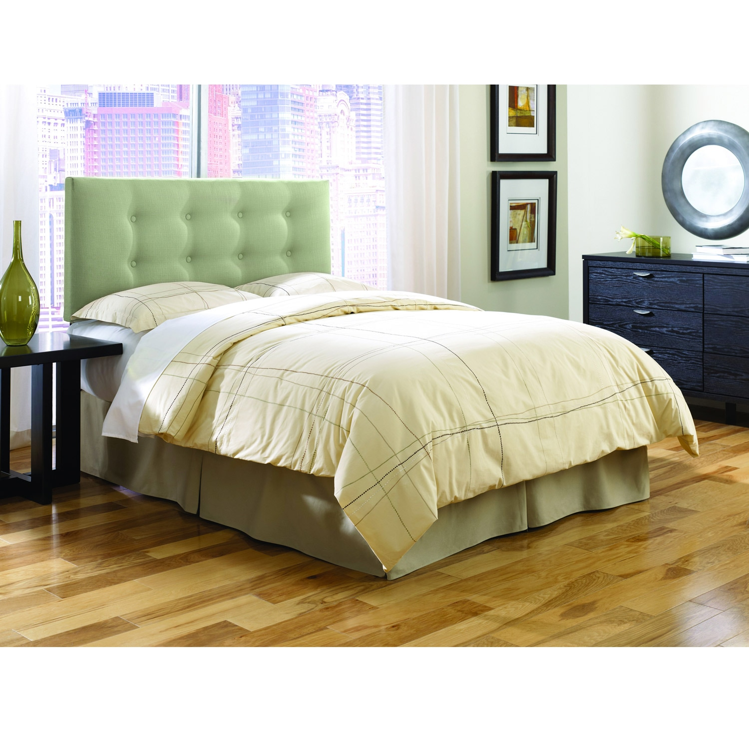 Chambery Sage Upholstered King-size Headboard