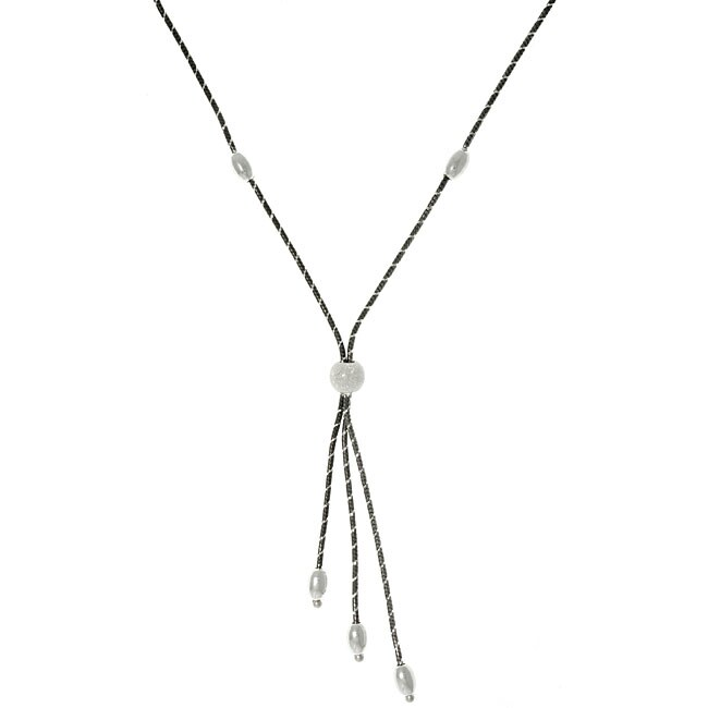 Carolina Glamour Collection Sterling Silver and Ruthenium Sleek Snake Lariat Necklace