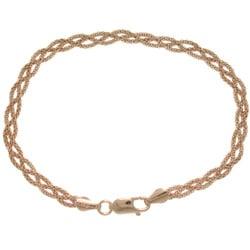 Carolina Glamour Collection Rose Gold over Sterling Silver Braided Popcorn Bracelet