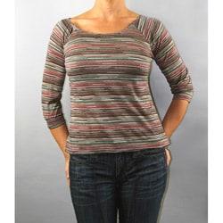 Institute Liberal Women's Yarn Dye 3/4-Length Knit Top