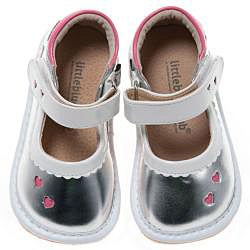 Little Blue Lamb Toddler Silver Heart Leather Squeaky Shoes