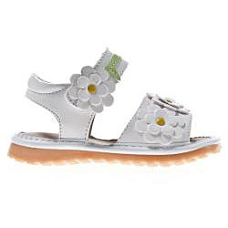 Little Blue Lamb Toddler White Flower Leather Squeaky Sandals - Thumbnail 2