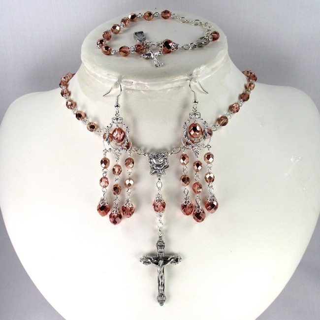 Copper Crystal Wedding Jewelry Set