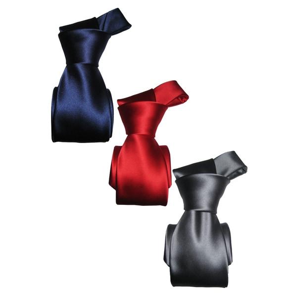 Dmitry Men's 100 Percent Italian-Silk Solid Ties (Set of 3)