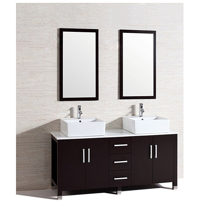 Modern Double 60 Inch Bathroom Vanity Sink Set Free Shipping Today 14280499