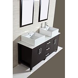Modern Double 60-inch Bathroom Vanity/ Sink Set - Thumbnail 1