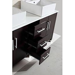 Modern Double 60-inch Bathroom Vanity/ Sink Set - Thumbnail 2