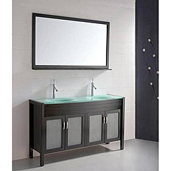 Double Bathroom Sink Espresso Vanity/ Cabinet Set