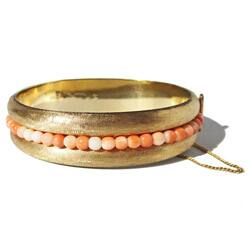 California Girl Jewelry Pre-owned 14k Yellow Gold Coral Bead c. 1950's Vintage Estate Bangle Bracelet|https://ak1.ostkcdn.com/images/products/6734790/14k-Yellow-Gold-Coral-Bead-c.-1950s-Vintage-Estate-Bangle-Bracelet-P14280992.jpg?impolicy=medium