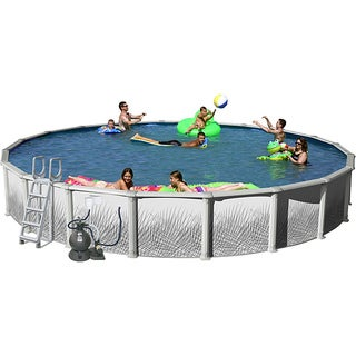 Hamilton 24-foot All-in-1 Grey Forest Wall Above Ground Swimming Pool Kit