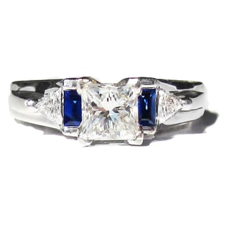 California Girl Jewelry Pre-owned 14k White Gold 1 1/2ct TDW Diamond and Sapphire Estate Ring (H-I,