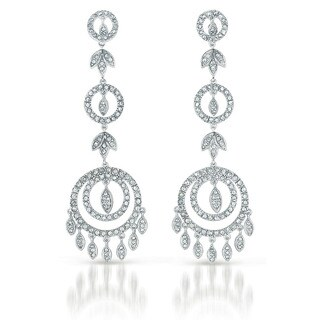 Collette Z Sterling Silver Cubic Zirconia Circle Chandelier Earrings