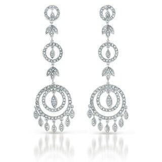 Collette Z Sterling Silver Cubic Zirconia Circle Chandelier Earrings