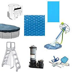 Quest 24-foot Round All-in-1 Above Ground Swimming Pool Kit - Thumbnail 1