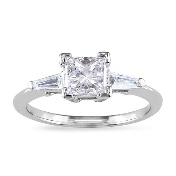 Miadora 14k White Gold 7/8ct TDW Princess-cut Diamond Engagement Ring