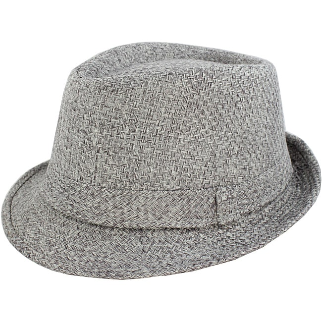 Faddism Men's Grey Woven Fedora Hat