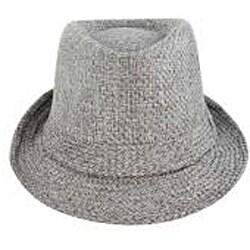 Faddism Men's Grey Woven Fedora Hat - Thumbnail 1