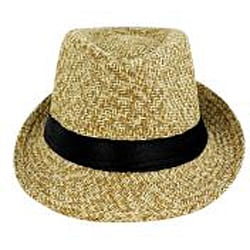 Faddism Men's Tan Woven Fedora Hat - Thumbnail 1