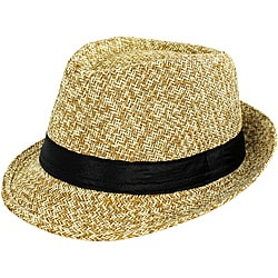 Faddism Men's Tan Woven Fedora Hat
