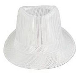 Faddism Men's White Striped Fedora Hat