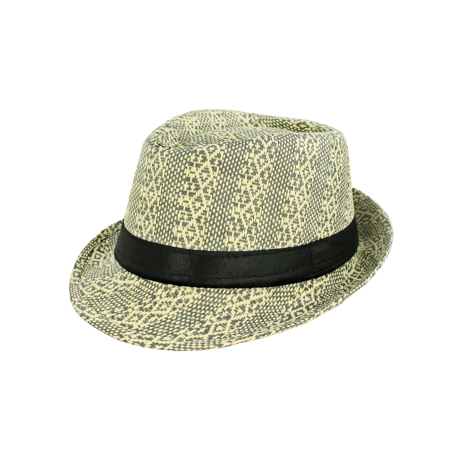 Faddism Men's Green/ Tan Woven Fedora Hat